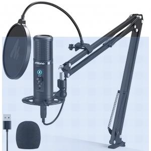 Micrófono USB con control de latencia cero MAONO AU-PM422 192KHZ/24BIT micrófono condensador cardioide profesional con botón de silencio táctil y botón de ganancia de micrófono para grabación, podcasting, juegos, YouTube