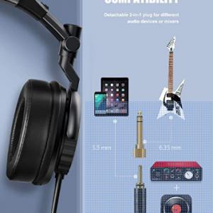 Sopownic – Auriculares de diadema para DJ con controlador de 1.969 in, grabación de monitor profesional