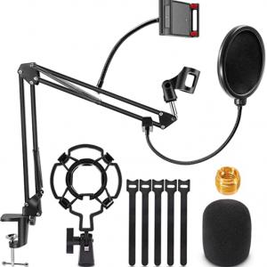 Soporte de micrófono, Magicfun micrófono brazo escritorio ajustable Suspensión Boom tijeras para Blue Yeti Snowball y otros micrófonos para transmisión profesional, voz, grabación, juegos
